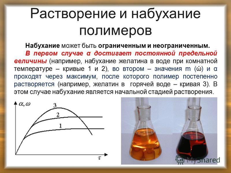 Растворение и набухание полимеров Набухание может быть ограниченным и неограниченным. В первом случае α достигает постоянной предельной величины (например, набухание желатина в воде при комнатной температуре – кривые 1 и 2), во втором – значения m (ώ