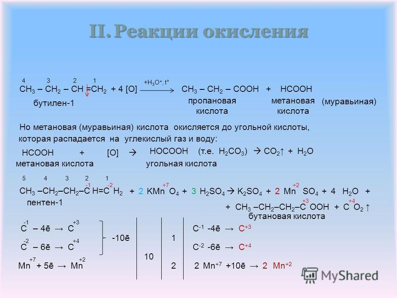 II.Реакции окисления CH 3 – CH 2 – CH =CH 2 Но метановая (муравьиная) кислота окисляется до угольной кислоты, HCOOH + [O] CH 3 –CH 2 –CH 2 –C H=C H 2 +HCOOHCH 3 – CH 2 – COOH +H 3 O +, t° бутэлен-1 угольная кислота (муравьиная) метановая кислота проп