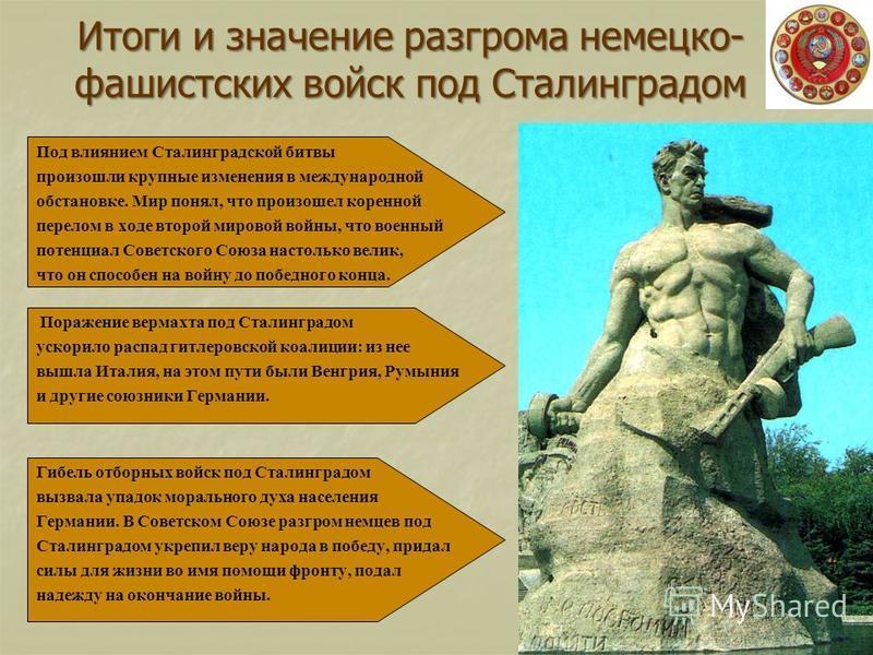 Итоги и значение разгрома немецко- фашистских войск под Сталинградом Под влиянием Сталинградской битвы произошли крупные изменения в международной обстановке. Мир понял, что произошел коренной перелом в ходе второй мировой войны, что военный потенциа