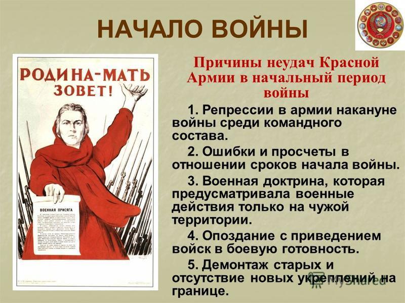 НАЧАЛО ВОЙНЫ Причины неудач Красной Армии в начальный период войны 1. Репрессии в армии накануне войны среди командного состава. 2. Ошибки и просчеты в отношении сроков начала войны. 3. Военная доктрина, которая предусматривала военные действия тольк