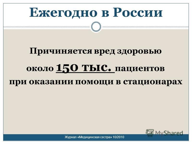 Ежегодно в России Причиняется вред здоровью около 150 тыс. пациентов при оказании помощи в стационарах Журнал «Медицинская сестра» 10/2010
