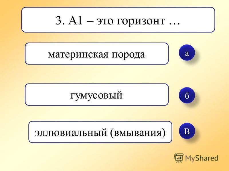 а а б б В В 3. А1 – это горизонт … материнская порода гумусовый элювиальный (вмывания)