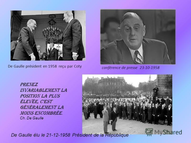 Charles et Yvonne De Gaulle à la Boisserie en 1954 De Gaulle le 2 mai 1958 Nouvelle assemblée 28-09-1958 la constitution de la Vé République est adoptée