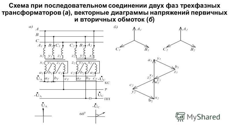 Схема при последовательном соединении двух фаз трехфазных трансформаторов (а), векторные диаграммы напряжений первичных и вторичных обмоток (б)