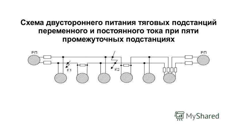 Схема двустороннего питания тяговых подстанций переменного и постоянного тока при пяти промежуточных подстанциях