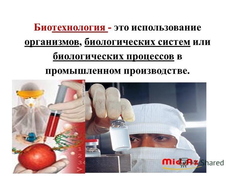 Биотехнология - это использование организмов, биологических систем или биологических процессов в промышленном производстве.