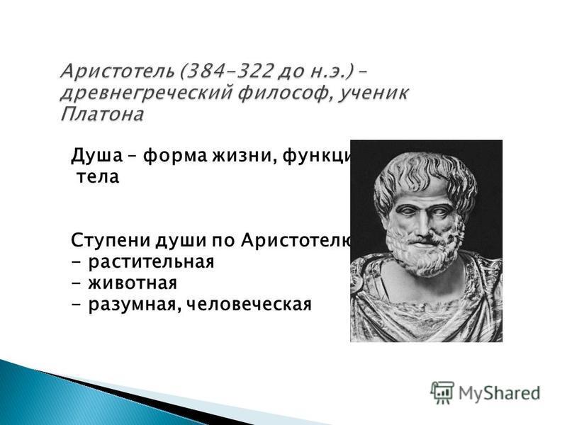 Душа – форма жизни, функция тела Ступени души по Аристотелю: - растительная - животная - разумная, человеческая