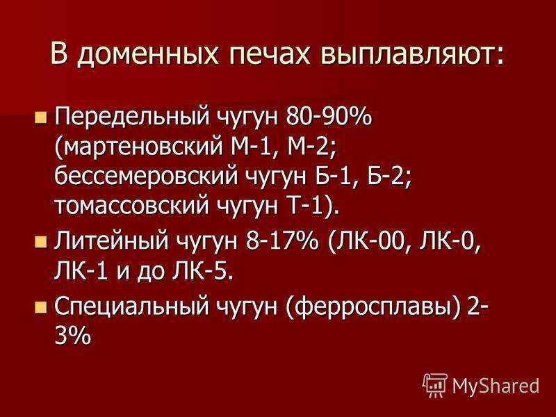 В доменных печах выплавляют: Передельный чугун 80-90% (мартеновский М-1, М-2; бессемеровский чугун Б-1, Б-2; томасовский чугун Т-1). Передельный чугун 80-90% (мартеновский М-1, М-2; бессемеровский чугун Б-1, Б-2; томасовский чугун Т-1). Литейный чугу