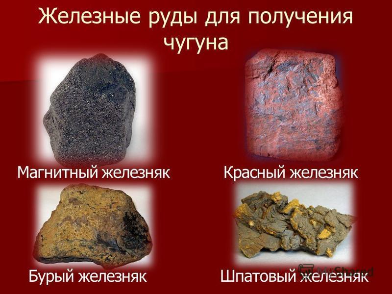 Железные руды для получения чугуна Красный железняк Магнитный железняк Бурый железняк Шпатовый железняк