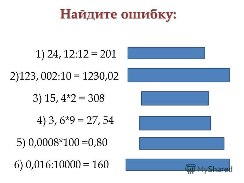 Найдите ошибку: 1) 24, 12:12 = 201 24, 12:12 = 2,01 2)123, 002:10 = 1230,02 123, 002:10 = 12,3002 3) 15, 4*2 = 308 15, 4*2 = 30,8 4) 3, 6*9 = 27, 54 3, 6*9 = 32,4 5) 0,0008*100 =0,80 0,0008*100 =0,08 6) 0,016:10000 = 160 0,016:10000 = 0,0016