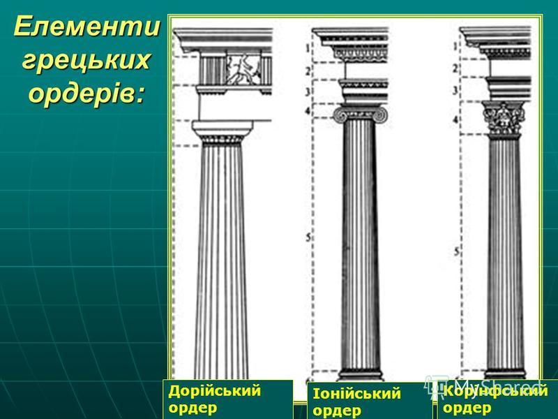 Елементи грецьких ордерів: Дорійський ордер Іонійський ордер Корінфський ордер