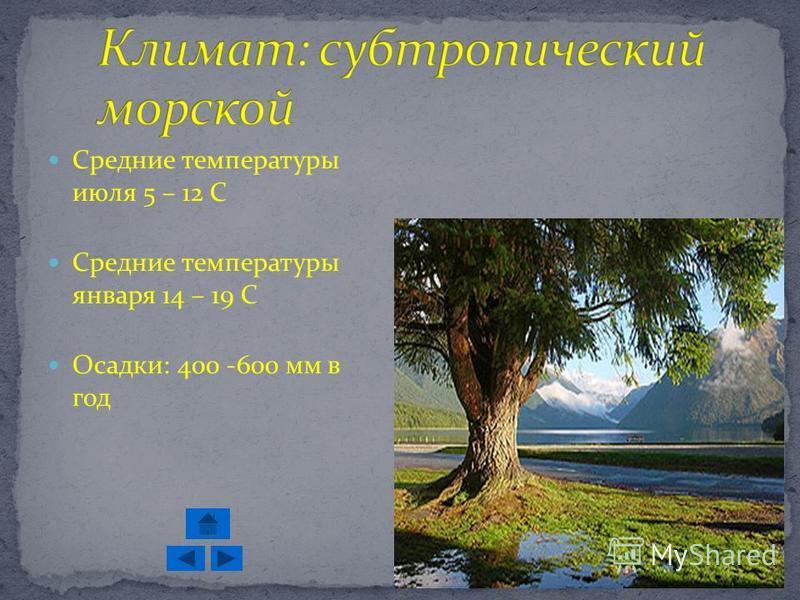 Средние температуры июля 5 – 12 С Средние температуры января 14 – 19 С Осадки: 400 -600 мм в год