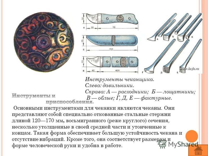 Инструменты чеканщика. Слева: давильники. Справа: А расходники; Б лощатники; B облые; Г, Д, Е фактурные.