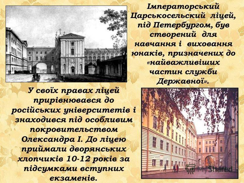 Імператорський Царськосельский ліцей, під Петербургом, був створений для навчання і виховання юнаків, призначених до «найважливіших частин служби Державної». У своїх правах ліцей прирівнювався до російських університетів і знаходився під особливим по