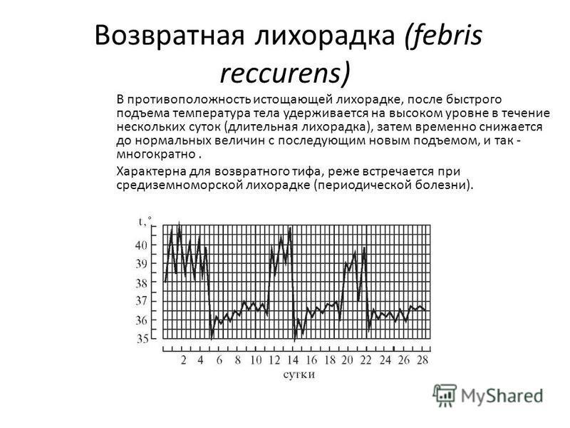 Возвратная лихорадка (febris reccurens) В противоположность истощающей лихорадке, после быстрого подъема температура тела удерживается на высоком уровне в течение нескольких суток (длительная лихорадка), затем временно снижается до нормальных величин