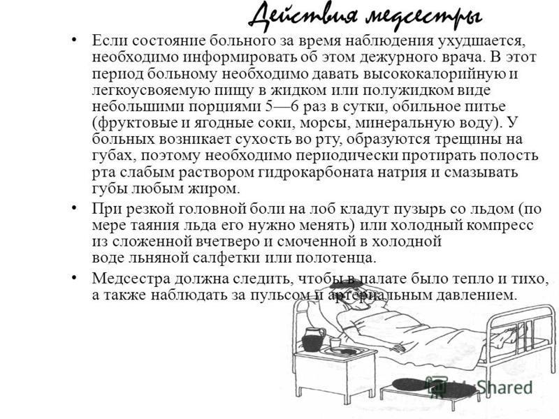 Действия медсестры Если состояние больного за время наблюдения ухудшается, необходимо информировать об этом дежурного врача. В этот период больному необходимо давать высококалорийную и легкоусвояемую пищу в жидком или полужидком виде небольшими порци