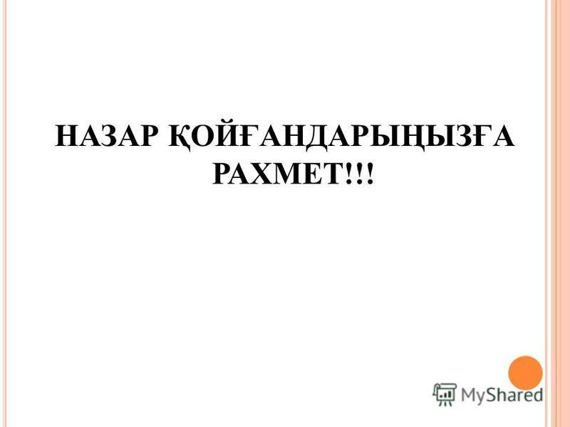 НАЗАР ҚОЙҒАНДАРЫҢЫЗҒА РАХМЕТ !!!