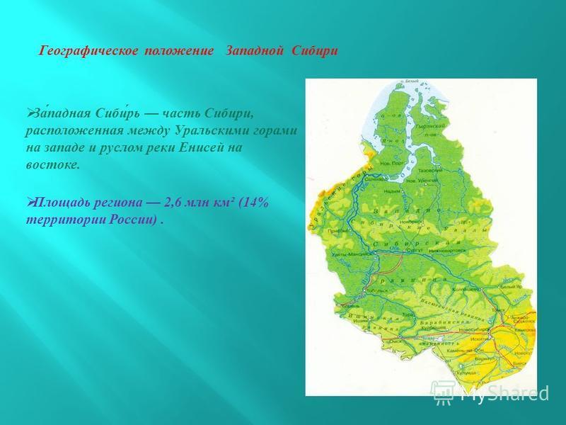 Географическое положение Западной Сибири Западная Сибирь часть Сибири, расположенная между Уральскими горами на западе и руслом реки Енисей на востоке. Площадь региона 2,6 млн км ² (14% территории России ).