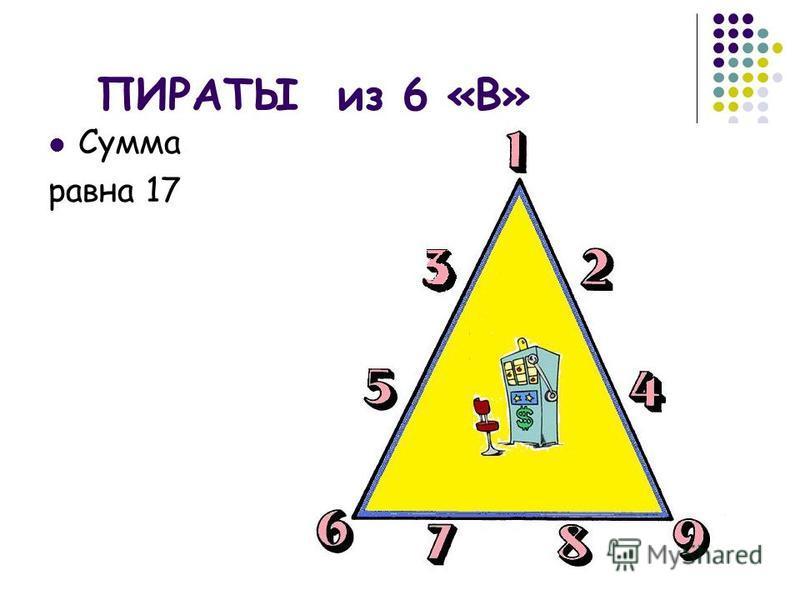 ПИРАТЫ из 6 «В» Сумма равна 17
