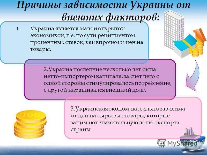 Причины зависимости Украины от внешних факторов: 1. Украина является малой открытой экономикой, т.е. по сути реципиентом процентных ставок, как впрочем и цен на товары. 2. Украина последние несколько лет была нетто-импортером капитала, за счет чего с