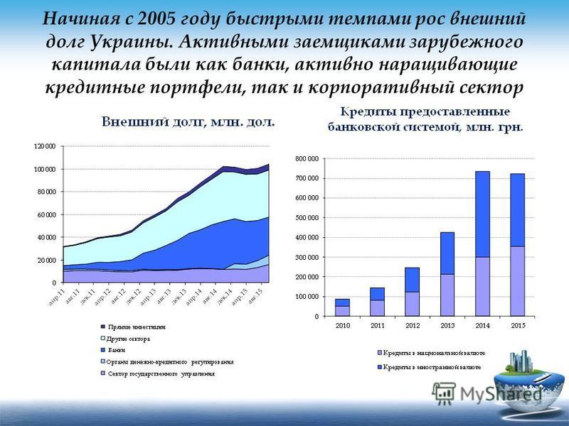 Начиная с 2005 году быстрыми темпами рос внешний долг Украины. Активными заемщиками зарубежного капитала были как банки, активно наращивающие кредитные портфели, так и корпоративный сектор