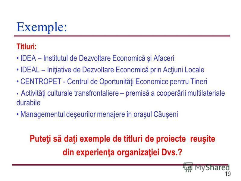19 Exemple: Titluri: IDEA – Institutul de Dezvoltare Economică şi Afaceri IDEAL – Iniţiative de Dezvoltare Economică prin Acţiuni Locale CENTROPET - Centrul de Oportunităţi Economice pentru Tineri Activităţi culturale transfrontaliere – premisă a coo