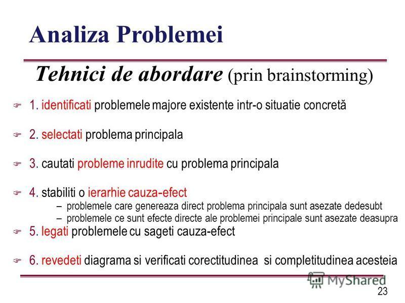 23 Tehnici de abordare (prin brainstorming) 1. identificati problemele majore existente intr-o situatie concretă 2. selectati problema principala 3. cautati probleme inrudite cu problema principala 4. stabiliti o ierarhie cauza - efect –problemele ca