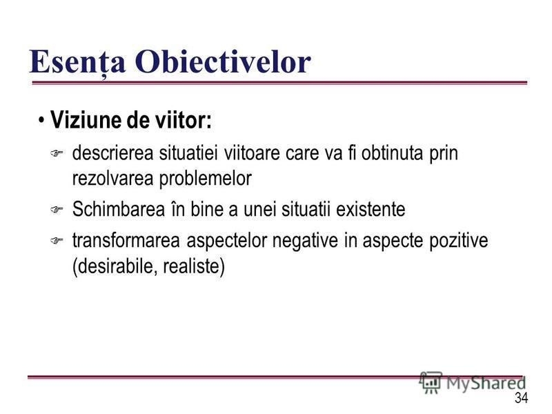 34 Esenţa Obiectivelor Viziune de viitor: F descrierea situatiei viitoare care va fi obtinuta prin rezolvarea problemelor F Schimbarea în bine a unei situatii existente F transformarea aspectelor negative in aspecte pozitive (desirabile, realiste)