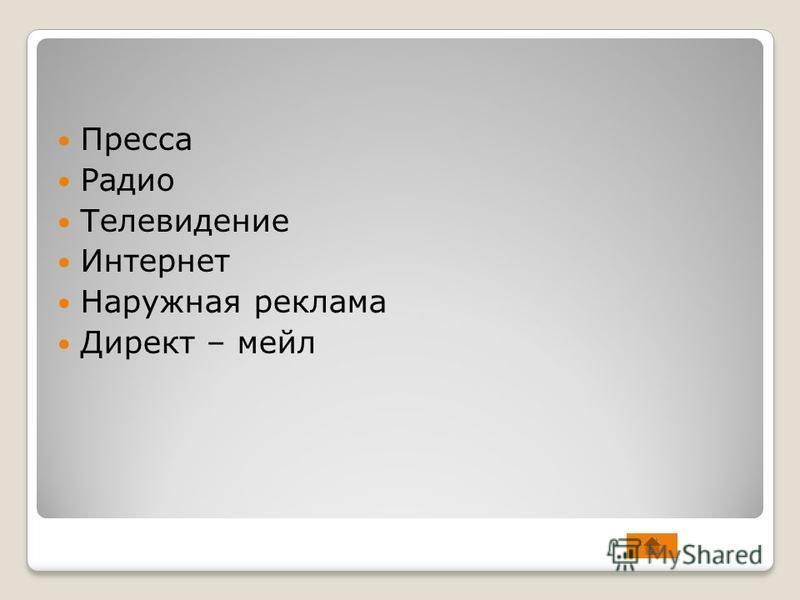 Пресса Радио Телевидение Интернет Наружная реклама Директ – мейл