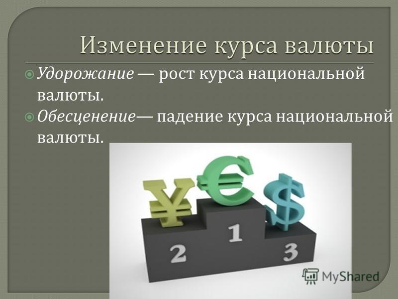 Удорожание рост курса национальной валюты. Обесценение падение курса национальной валюты.