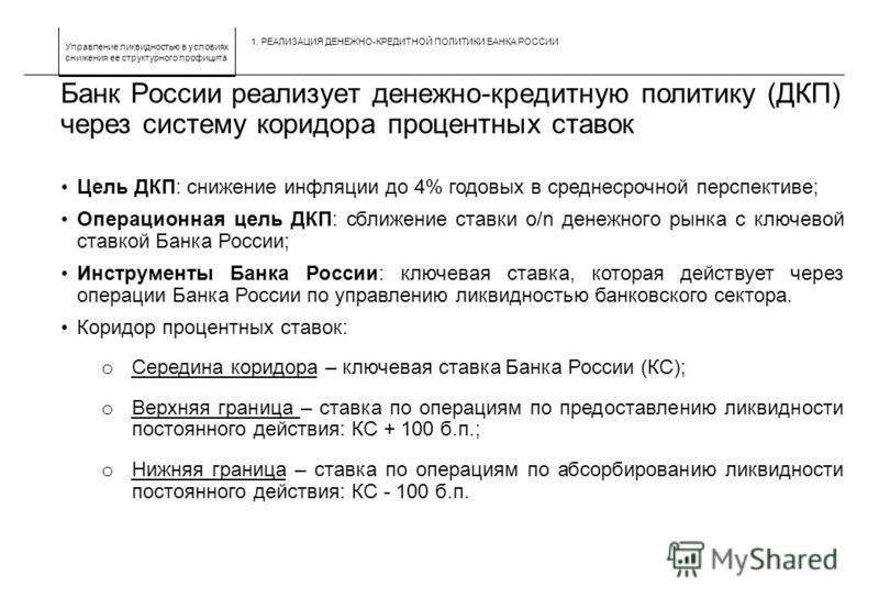 Управление ликвидностью в условиях снижения ее структурного профицита Банк России реализует денежно-кредитную политику (ДКП) через систему коридора процентных ставок Цель ДКП: снижение инфляции до 4% годовых в среднесрочной перспективе; Операционная