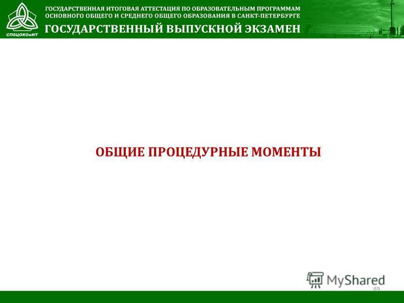 ОБЩИЕ ПРОЦЕДУРНЫЕ МОМЕНТЫ 69