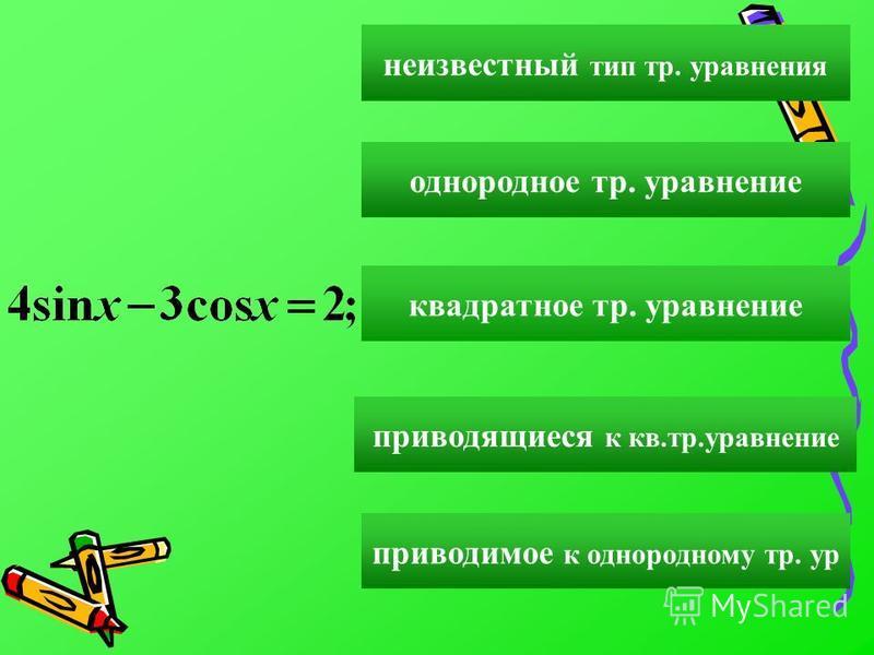 однородное тр. уравнение квадратное тр. уравнение приводящиеся к кв.тр.уравнение приводимое к однородному тр. ур неизвестный тип тр. уравнения