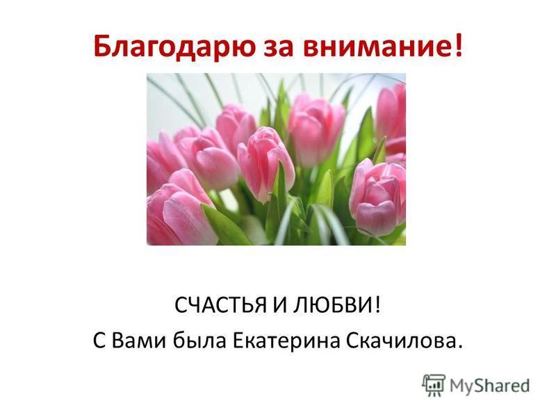 Благодарю за внимание! СЧАСТЬЯ И ЛЮБВИ! С Вами была Екатерина Скачилова.