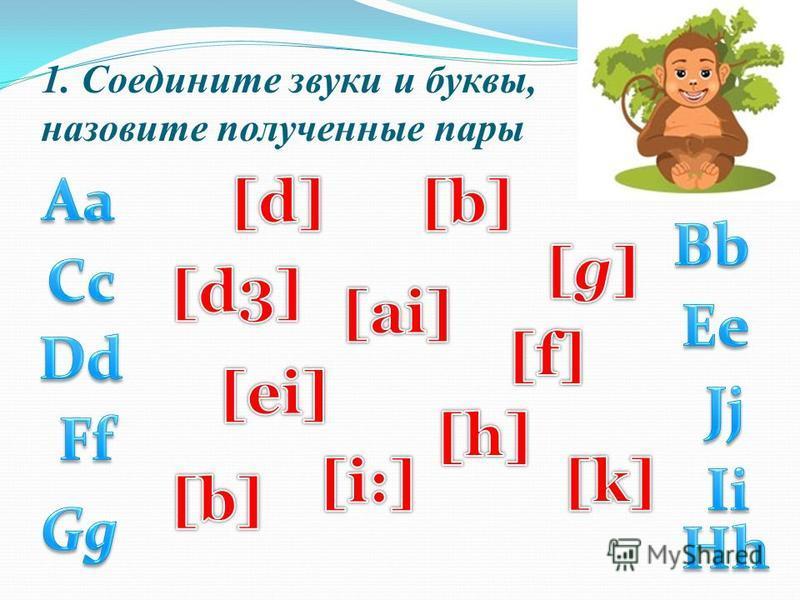 1. Соедините звуки и буквы, назовите полученные пары