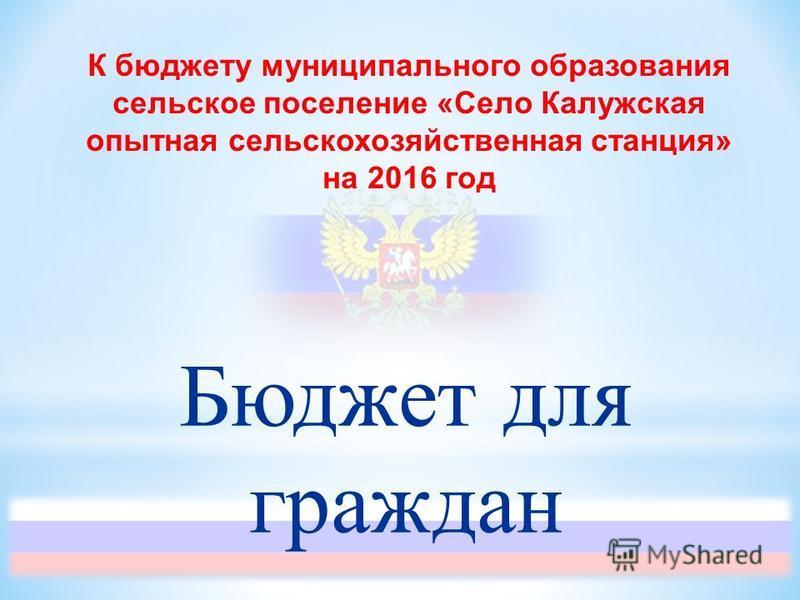 К бюджету муниципального образования сельское поселение «Село Калужская опытная сельскохозяйственная станция» на 2016 год Бюджет для граждан