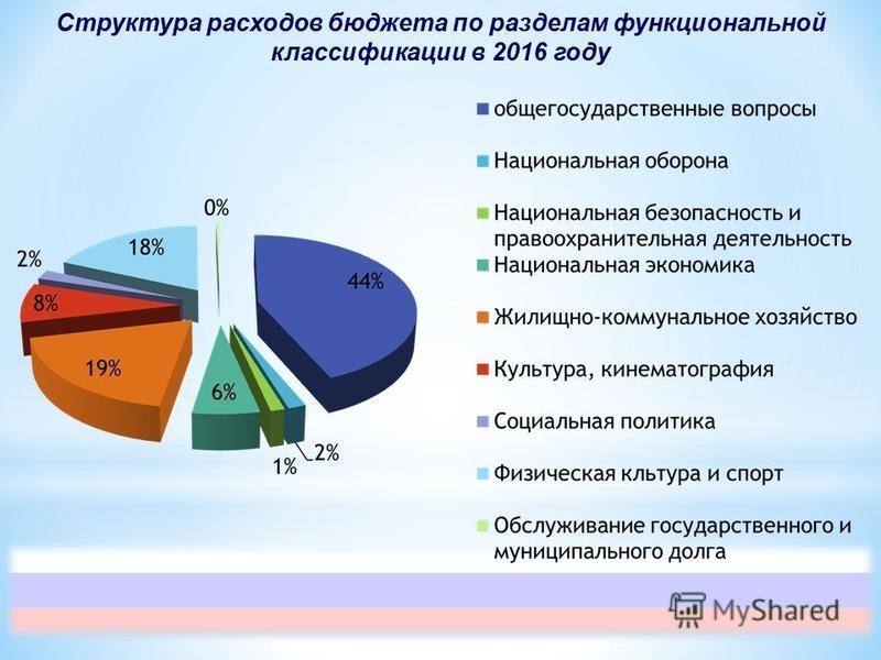 Структура расходов бюджета по разделам функциональной классификации в 2016 году