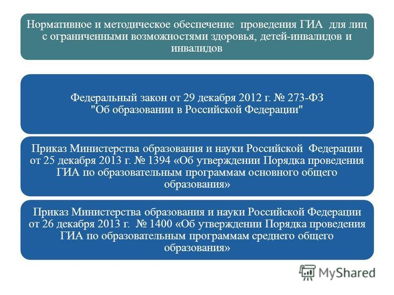 Нормативное и методическое обеспечение проведения ГИА для лиц с ограниченными возможностями здоровья, детей-инвалидов и инвалидов Федеральный закон от 29 декабря 2012 г. 273-ФЗ