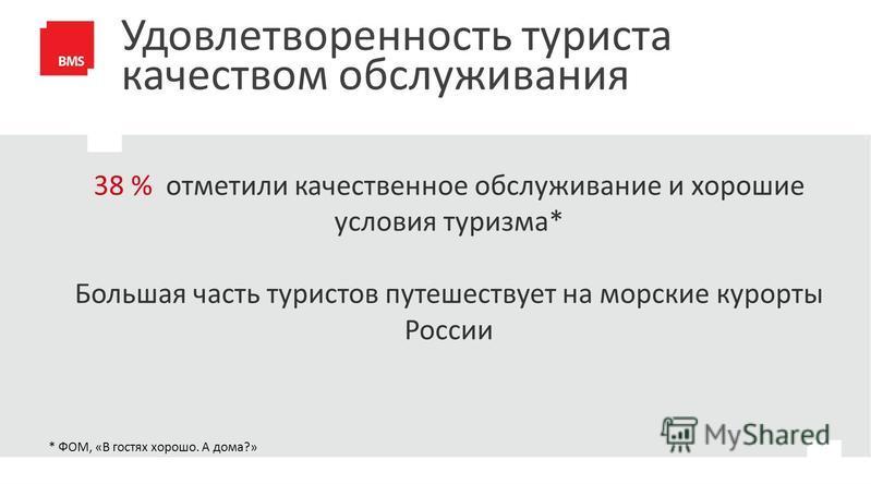 Удовлетворенность туриста качеством обслуживания * ФОМ, «В гостях хорошо. А дома?» 38 % отметили качественное обслуживание и хорошие условия туризма* Большая часть туристов путешествует на морские курорты России