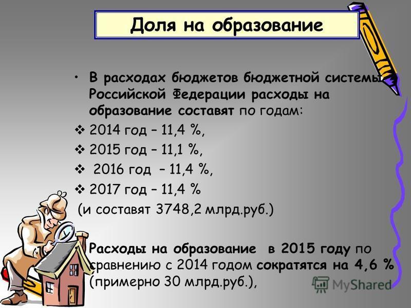 Доля на образование В расходах бюджетов бюджетной системы Российской Федерации расходы на образование составят по годам: 2014 год – 11,4 %, 2015 год – 11,1 %, 2016 год – 11,4 %, 2017 год – 11,4 % (и составят 3748,2 млрд.руб.) Расходы на образование в
