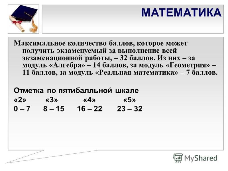 МАТЕМАТИКА Максимальное количество баллов, которое может получить экзаменуемый за выполнение всей экзаменационной работы, – 32 баллов. Из них – за модуль «Алгебра» – 14 баллов, за модуль «Геометрия» – 11 баллов, за модуль «Реальная математика» – 7 ба