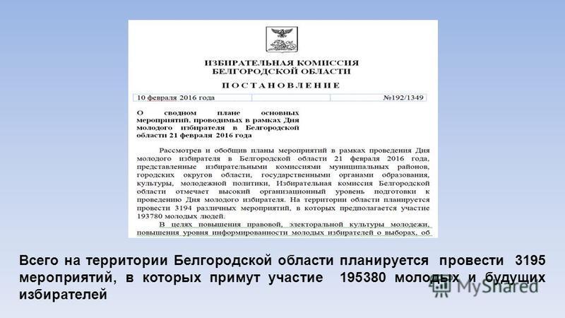 Всего на территории Белгородской области планируется провести 3195 мероприятий, в которых примут участие 195380 молодых и будущих избирателей