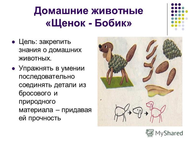 Домашние животные «Щенок - Бобик» Цель: закрепить знания о домашних животных. Упражнять в умении последовательно соединять детали из бросового и природного материала – придавая ей прочность