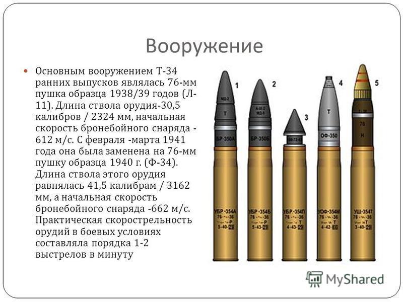 Вооружение Основным вооружением Т -34 ранних выпусков являлась 76- мм пушка образца 1938/39 годов ( Л - 11). Длина ствола орудия -30,5 калибров / 2324 мм, начальная скорость бронебойного снаряда - 612 м / с. С февраля - марта 1941 года она была замен