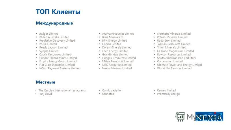 ТОП Клиенты Invigor Limited Phileo Australia Limited Predictive Discovery Limited PS&C Limited Reedy Lagoon Limited Syngas Limited Cabral Resources Limited Condor Blanco Mines Limited Empire Energy Group Limited Flat Glass Industries Limited i-Cash P