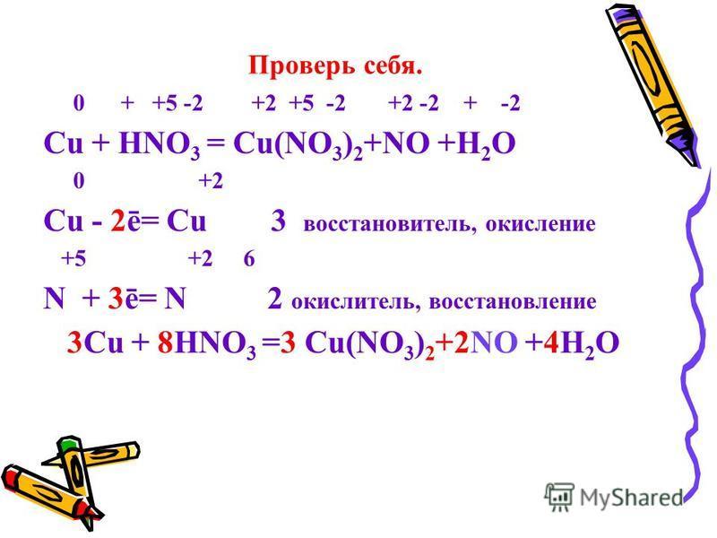 Проверь себя. 0 + +5 -2 +2 +5 -2 +2 -2 + -2 Cu + HNO 3 = Cu(NO 3 ) 2 +NO +H 2 O 0 +2 Cu - 2ē= Cu 3 восстановитель, окисление +5 +2 6 N + 3ē= N 2 окислитель, восстановление 3Cu + 8HNO 3 =3 Cu(NO 3 ) 2 +2NO +4H 2 O