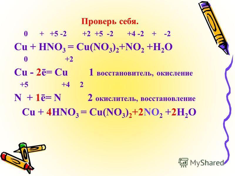 Проверь себя. 0 + +5 -2 +2 +5 -2 +4 -2 + -2 Cu + HNO 3 = Cu(NO 3 ) 2 +NO 2 +H 2 O 0 +2 Cu - 2ē= Cu 1 восстановитель, окисление +5 +4 2 N + 1ē= N 2 окислитель, восстановление Cu + 4HNO 3 = Cu(NO 3 ) 2 +2NO 2 +2H 2 O