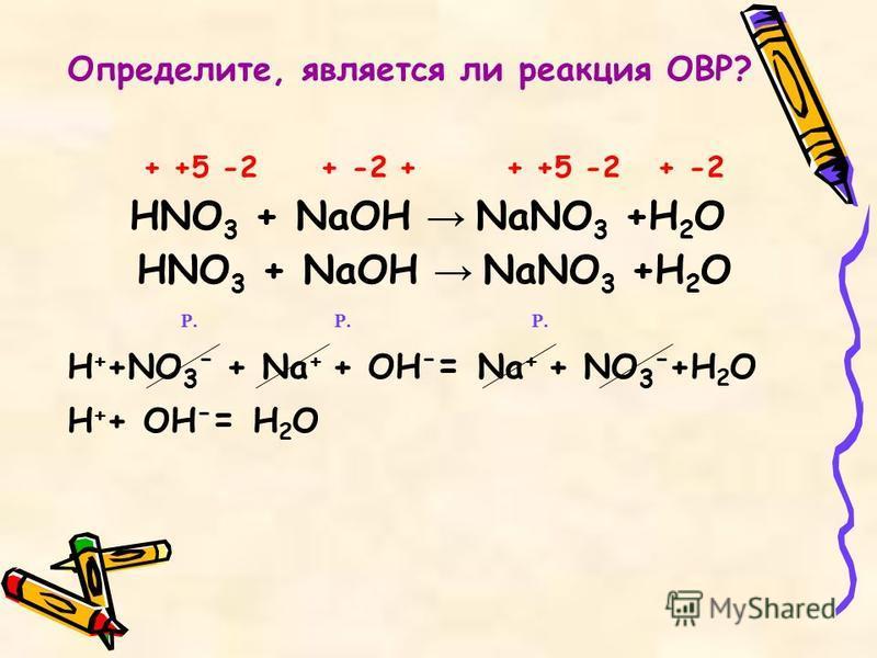 + +5 -2 + -2 + + +5 -2 + -2 HNO 3 + NaOH NaNO 3 +H 2 O Р. Р. Р. H + +NO 3 - + Na + + OH - = Na + + NO 3 - +H 2 O H + + OH - = H 2 O