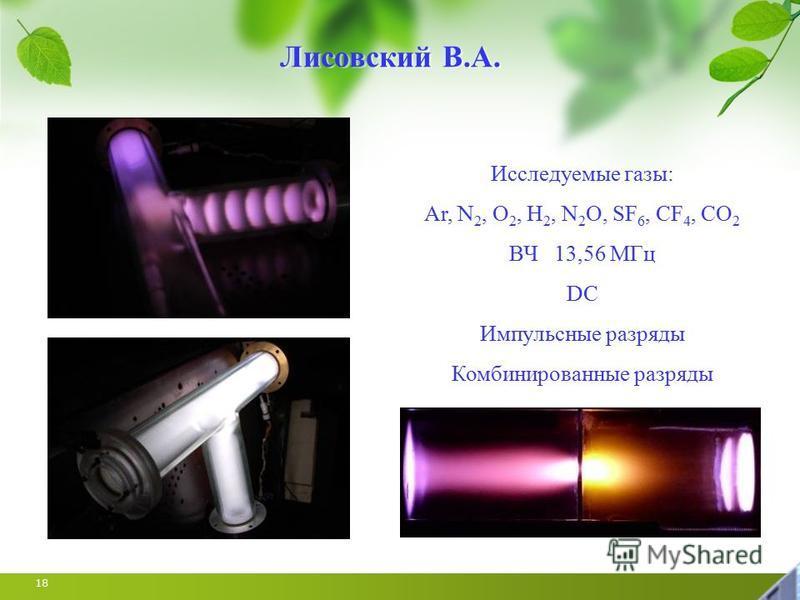 18 Исследуемые газы: Ar, N 2, O 2, H 2, N 2 O, SF 6, CF 4, CO 2 ВЧ 13,56 МГц DC Импульсные разряды Комбинированные разряды Лисовский В.А.