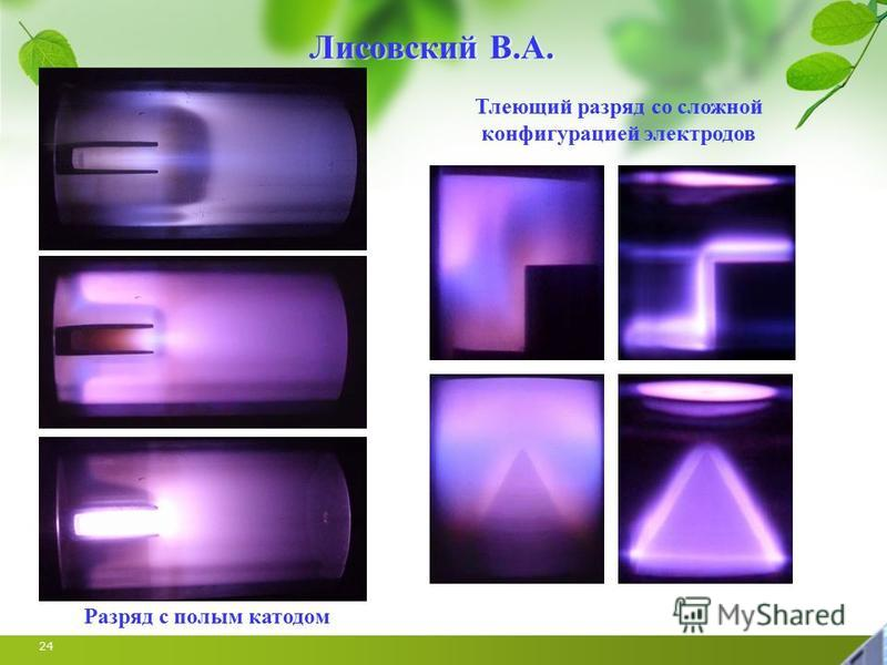 24 Лисовский В.А. Тлеющий разряд со сложной конфигурацией электродов Разряд с полым катодом